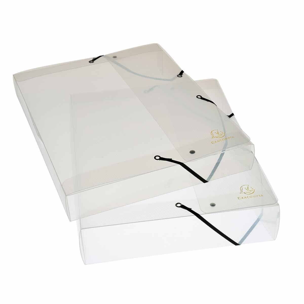 Exacompta Crystal Elasticated Box File A4 25mm Pack of 8