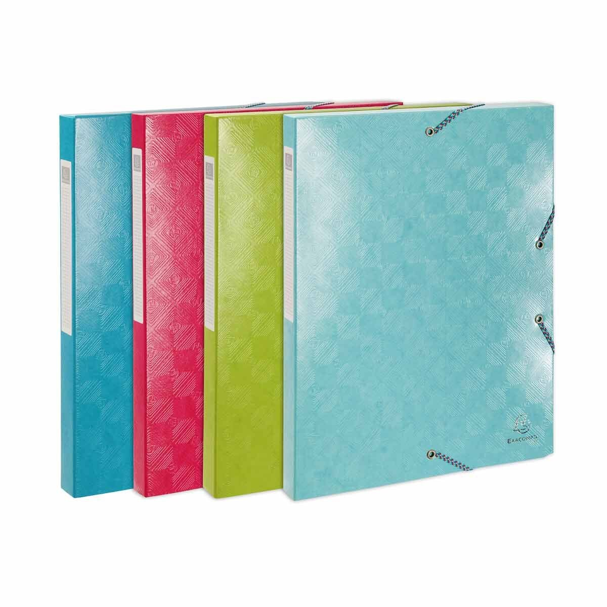 Exacompta 1928 Elasticated Box File A4 25mm Pack of 8 Assorted