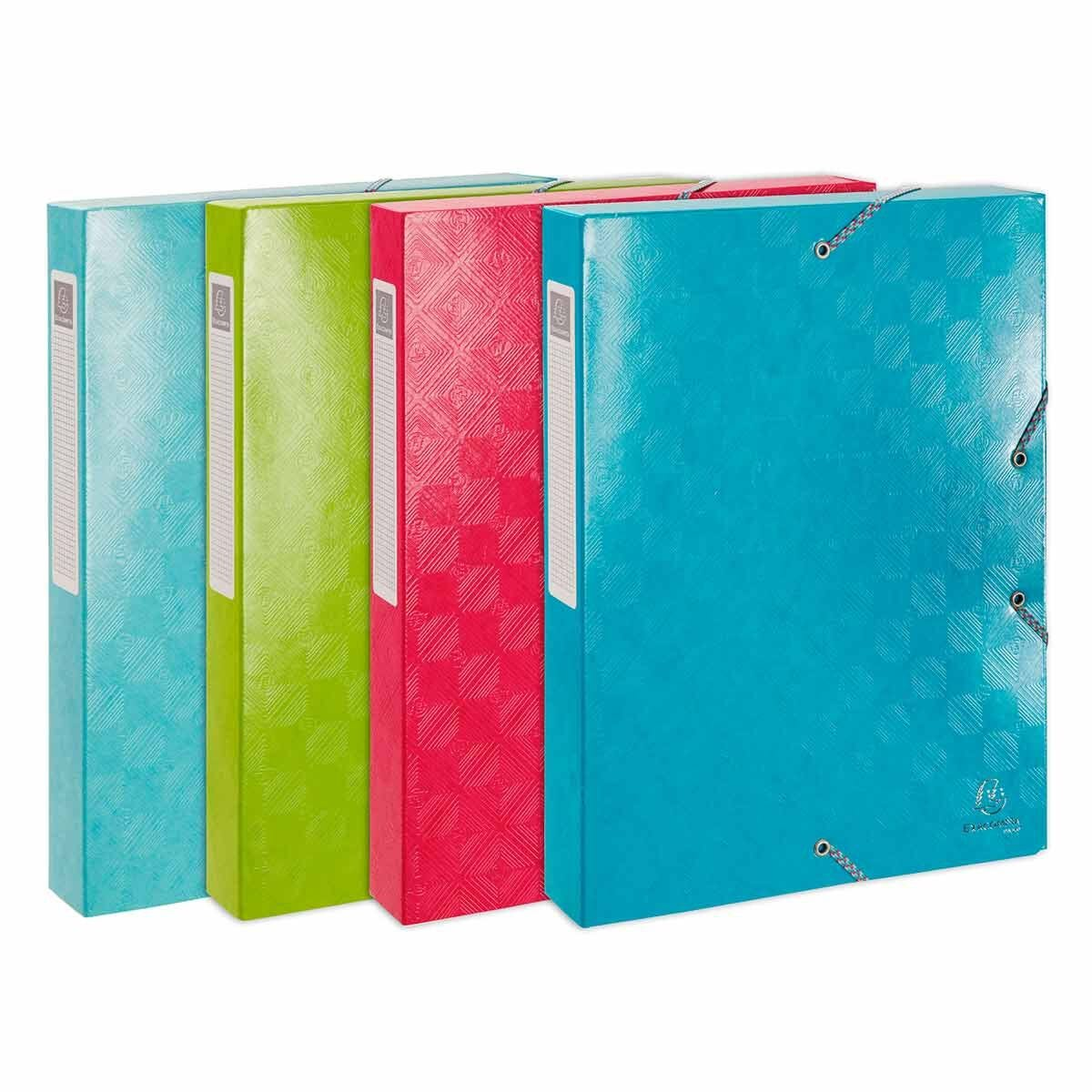 Exacompta 1928 Elasticated Box File A4 40mm Pack of 8 Assorted
