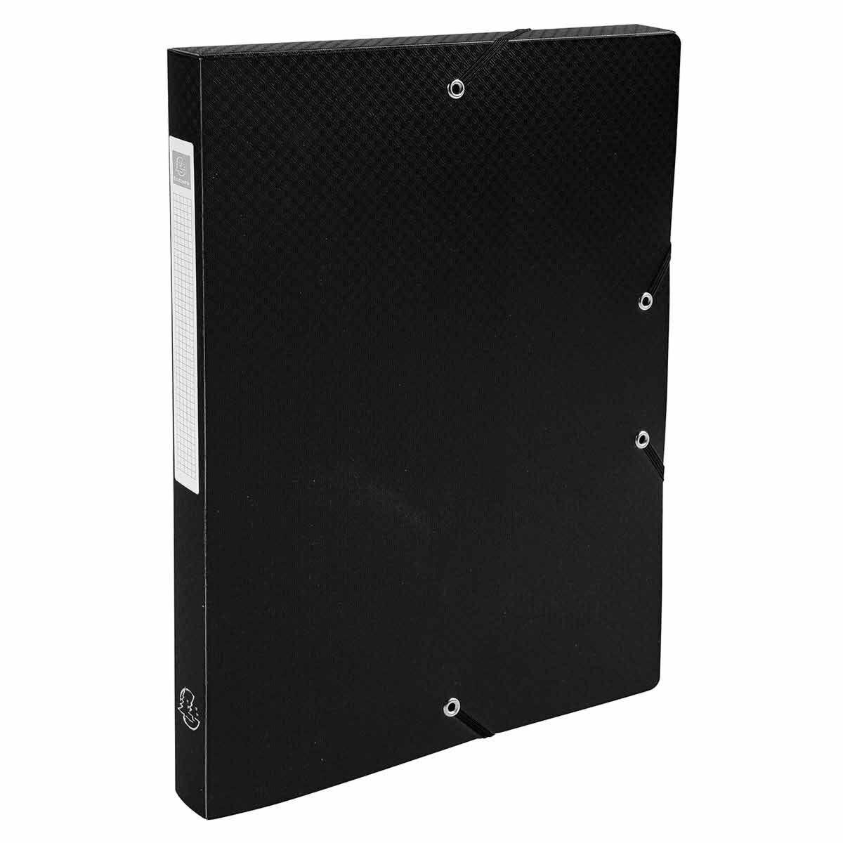 Exacompta Elasticated Polypropylene Box File A4 25mm Pack of 8 Black