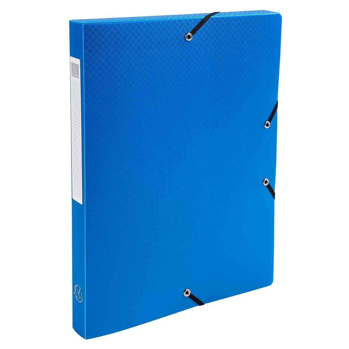 Exacompta Elasticated Polypropylene Box File A4 25mm Pack of 8 Blue