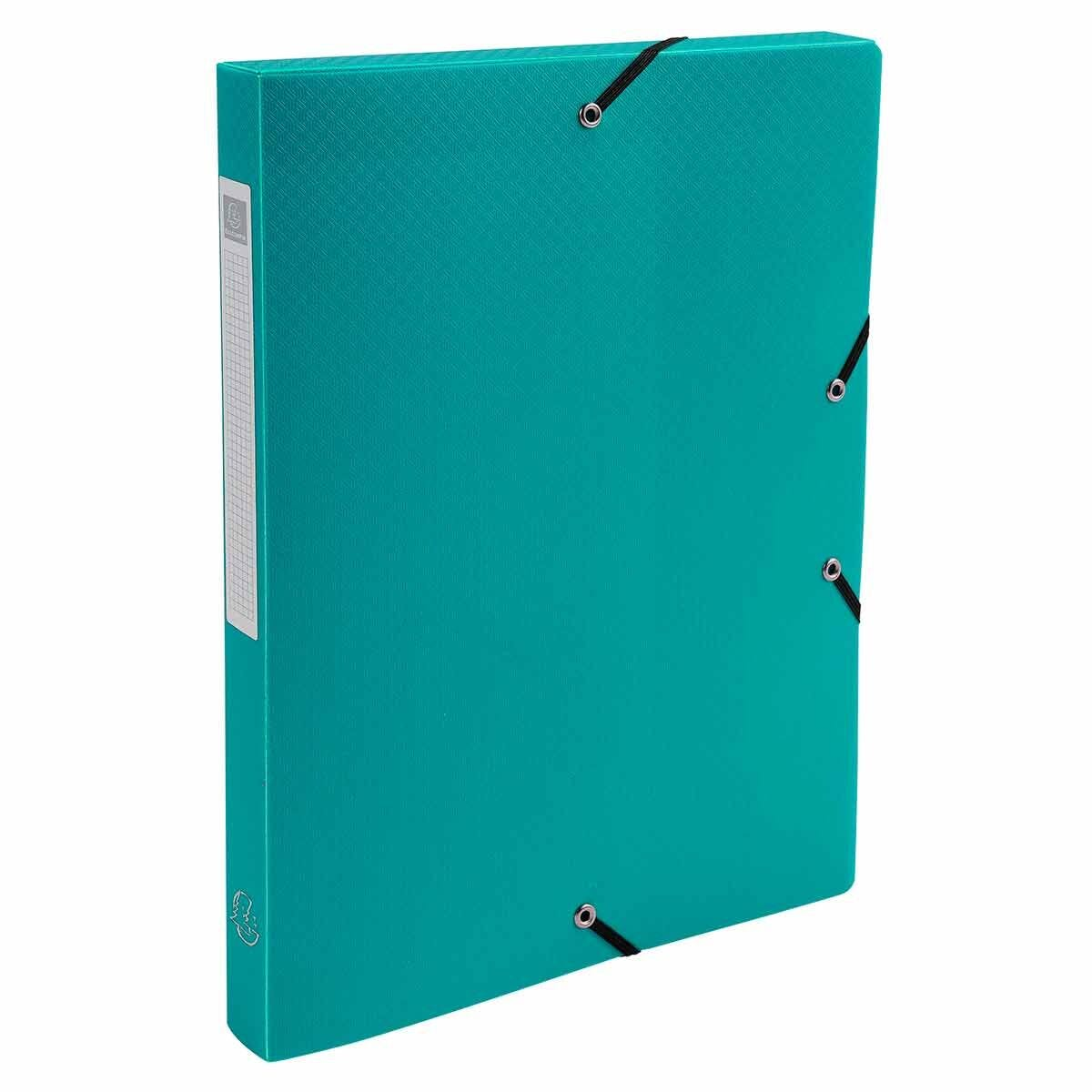 Exacompta Elasticated Polypropylene Box File A4 25mm Pack of 8 Green