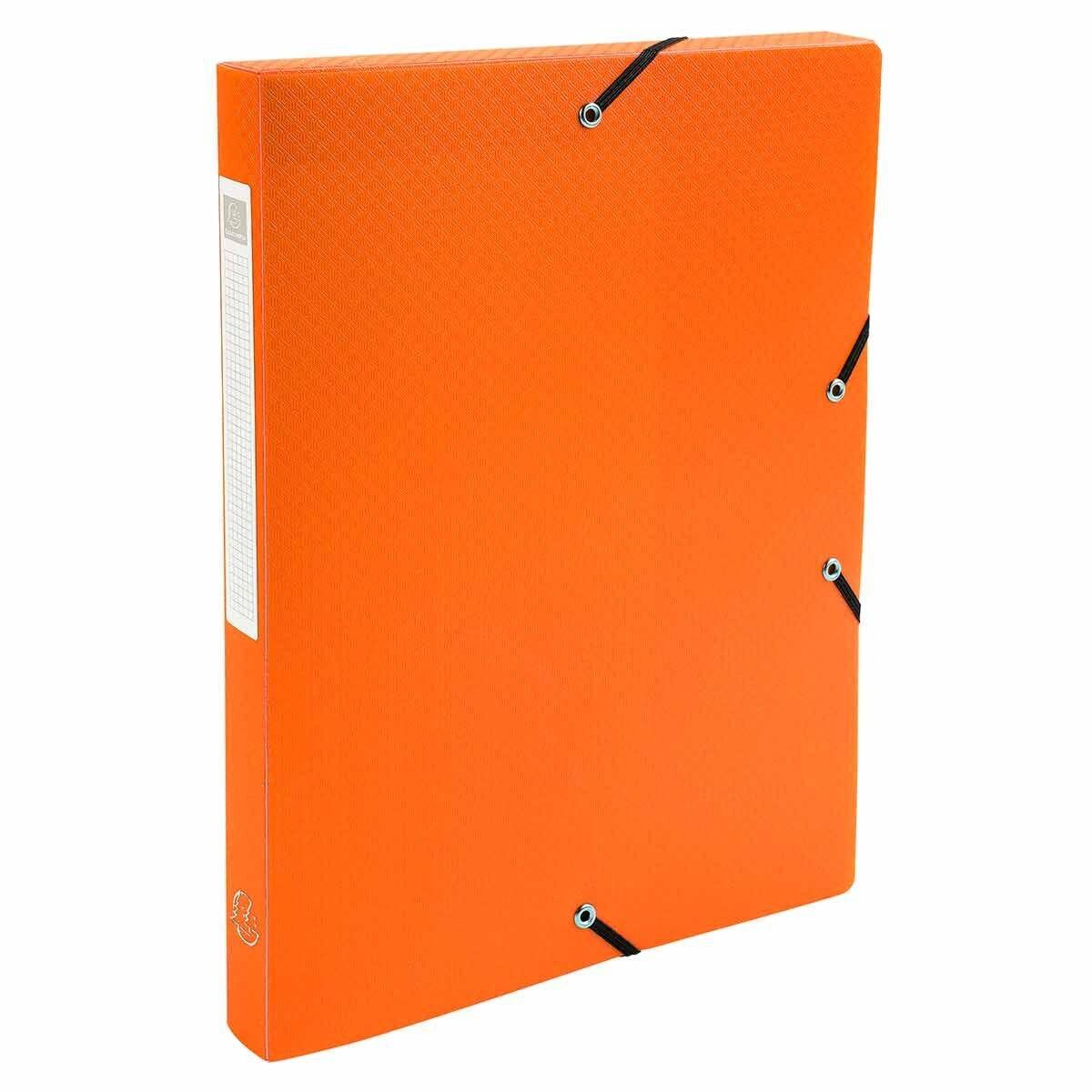 Exacompta Elasticated Polypropylene Box File A4 25mm Pack of 8 Orange
