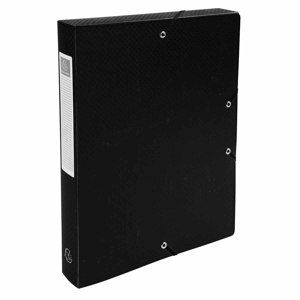 Exacompta Elasticated Polypropylene Box File A4 40mm Pack of 8 Black