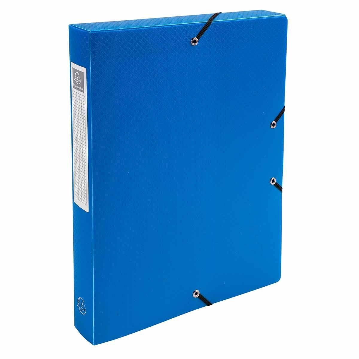 Exacompta Elasticated Polypropylene Box File A4 40mm Pack of 8 Blue