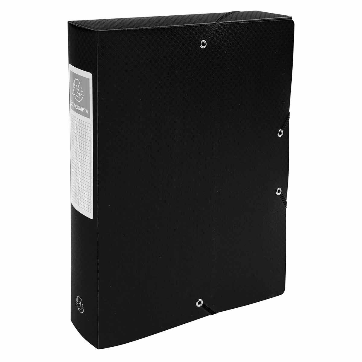 Exacompta Elasticated Opaque Polypropylene Box File A4 60mm Pack of 8 Black