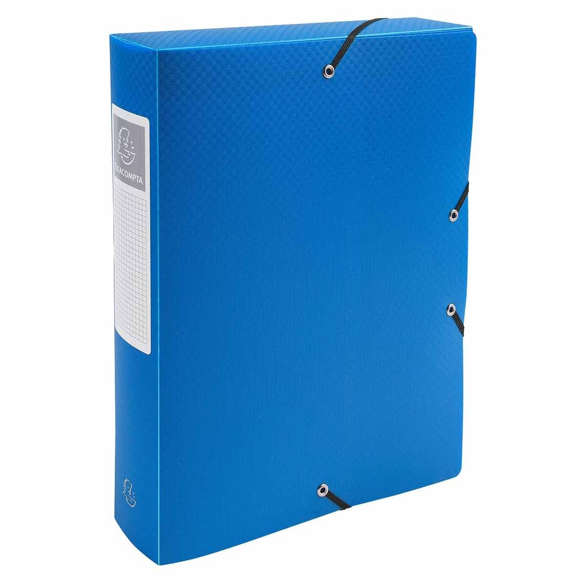 Exacompta Elasticated Opaque Polypropylene Box File A4 60mm Pack of 8 Blue