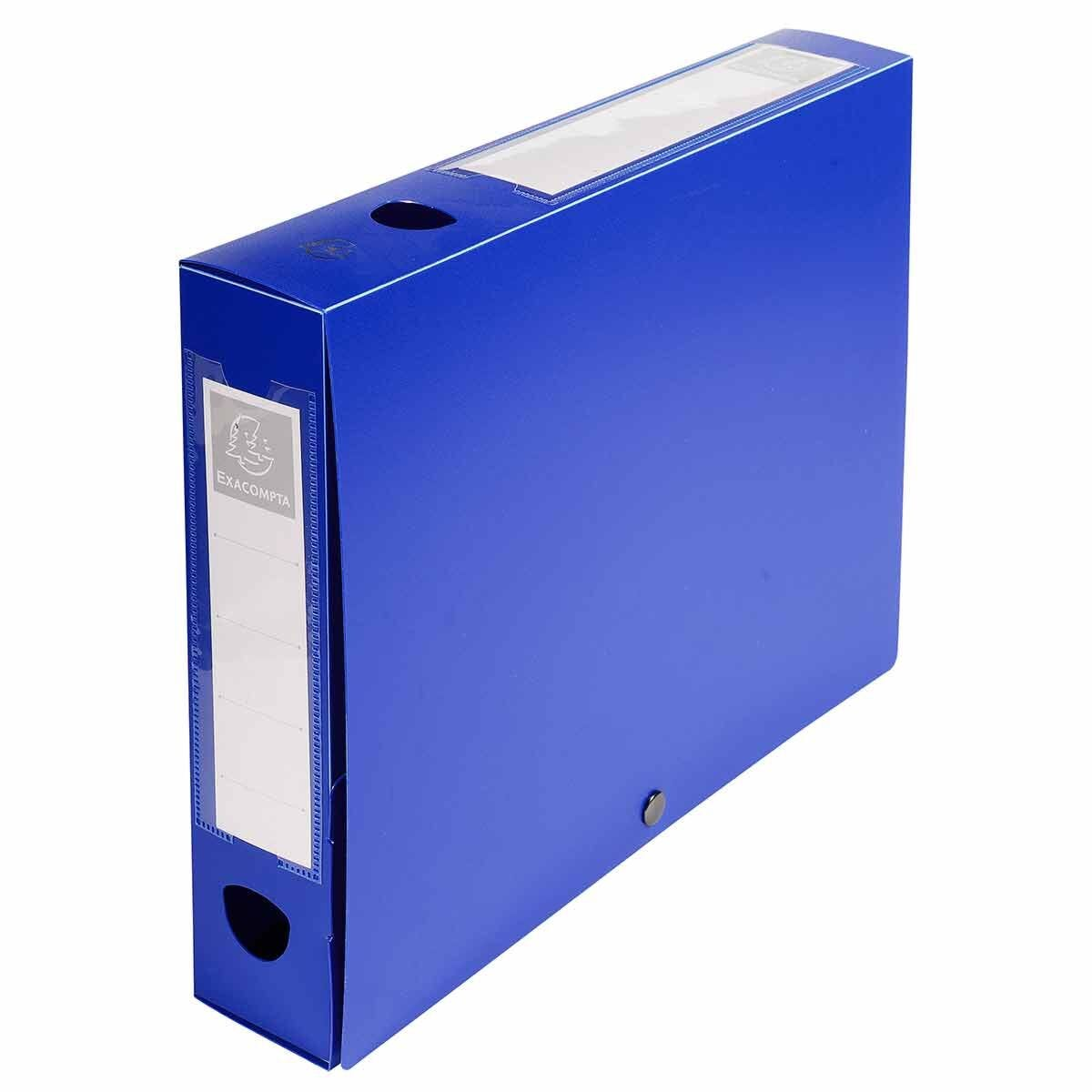 Exacompta Press Stud Opaque Filing Box 60mm Spine A4 Pack of 10 Blue