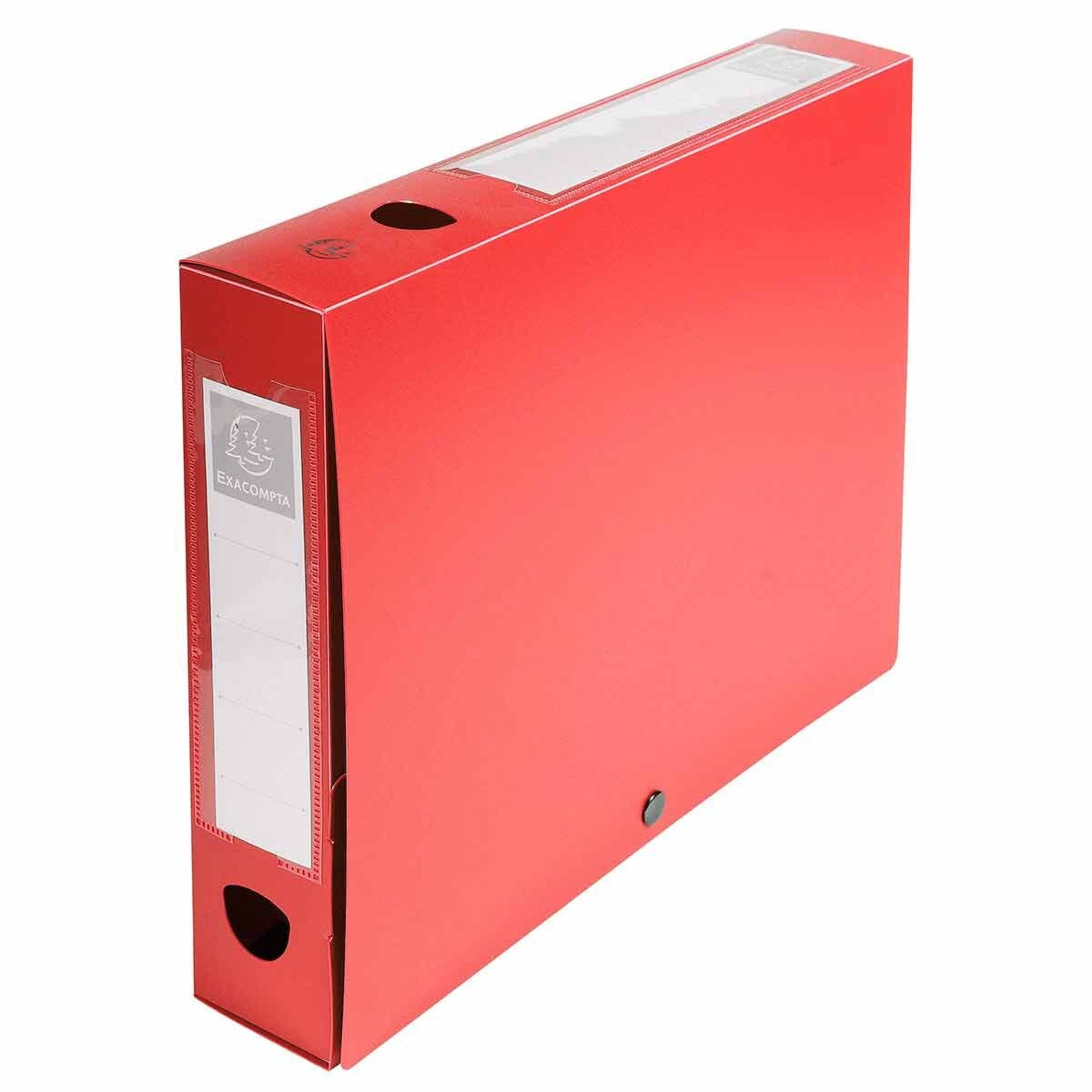 Exacompta Press Stud Opaque Filing Box 60mm Spine A4 Pack of 10 Red