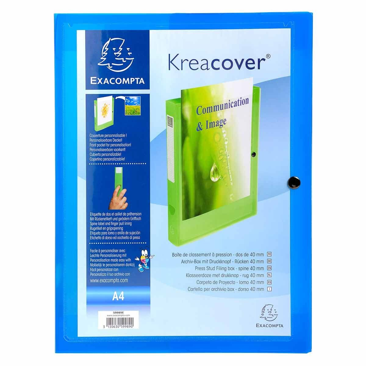 Exacompta 5 x Sammelbox Kreacover 40mm PP transparent blau