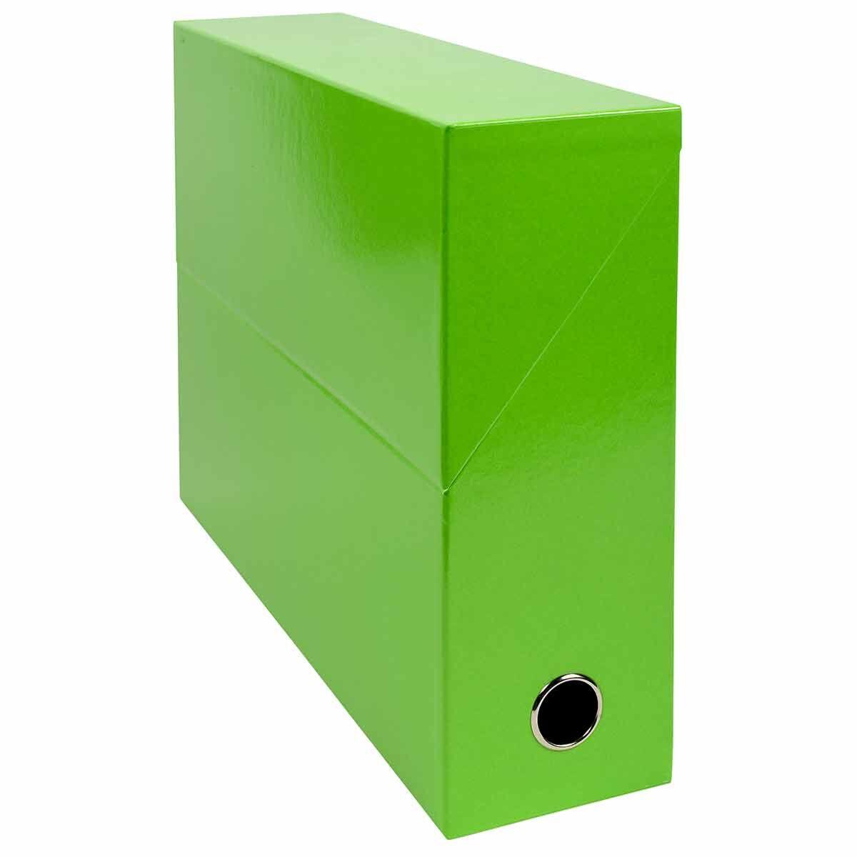 Exacompta Iderama Filing Box 90mm Pack of 5 Lime Green