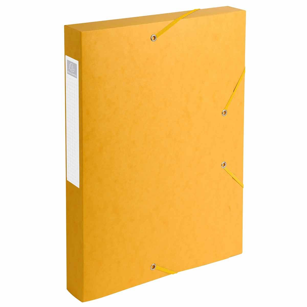 Exacompta Elasticated Box File Pressboard A4 40mm Pack of 10 Yellow