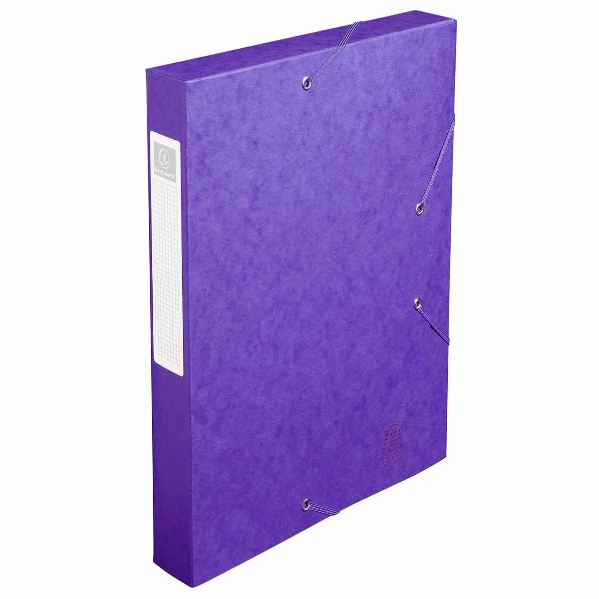 Exacompta Elasticated Box File Pressboard A4 40mm Pack of 10 Purple