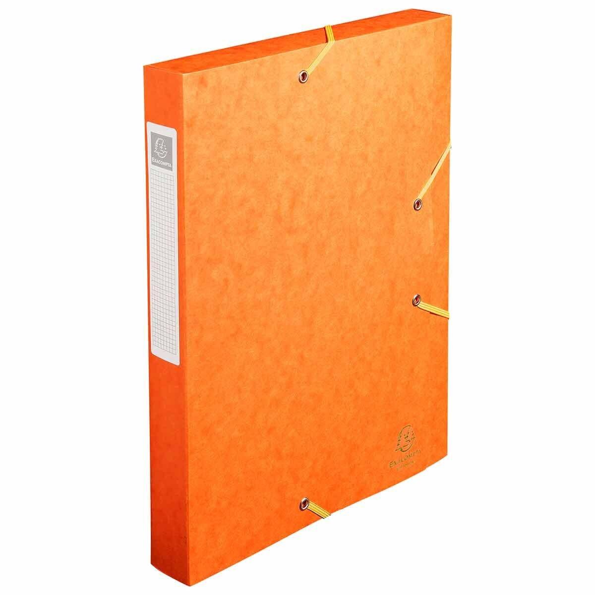 Exacompta Elasticated Box File Pressboard A4 40mm Pack of 10 Orange