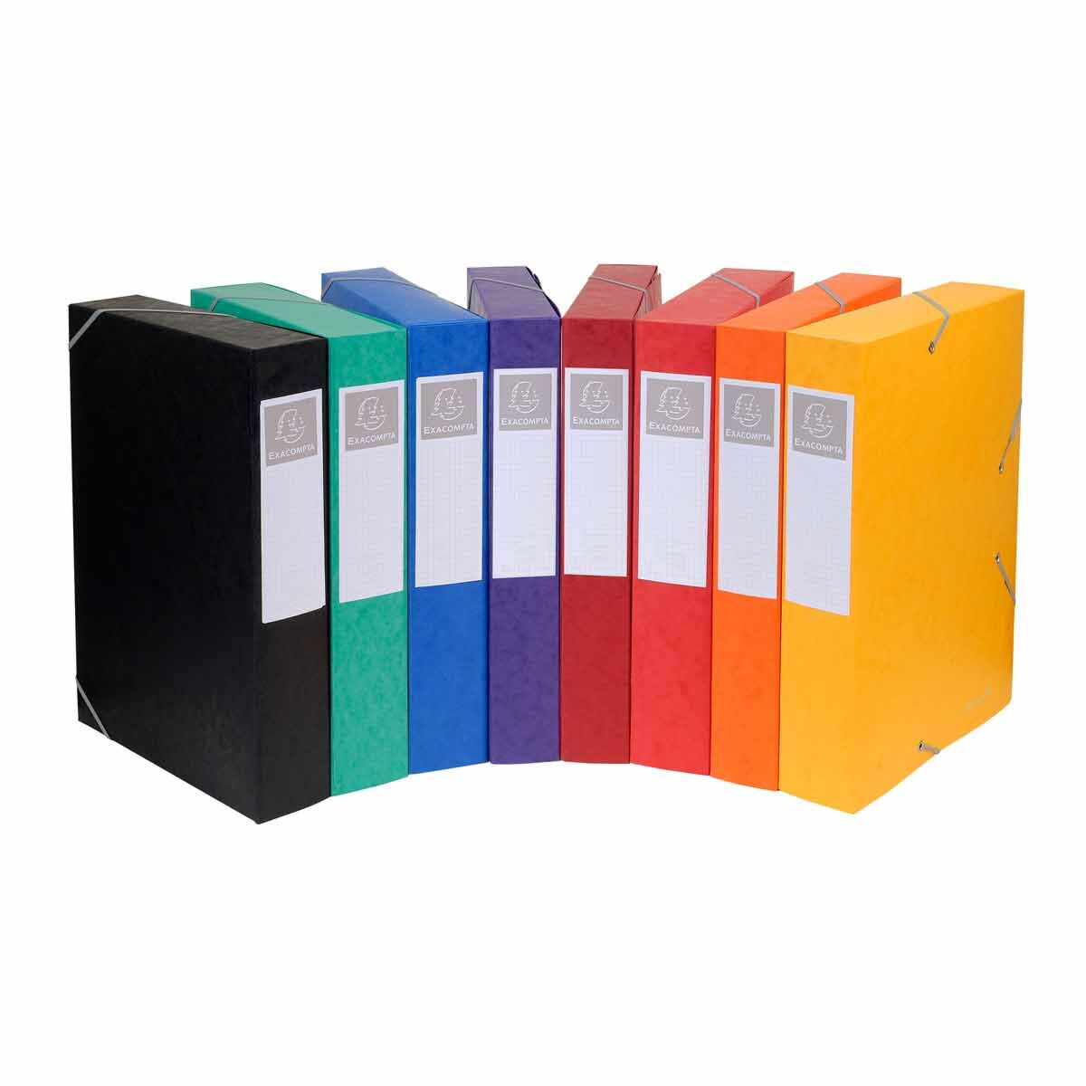 Exacompta Elasticated Box File Pressboard A4 60mm Pack of 10 Assorted