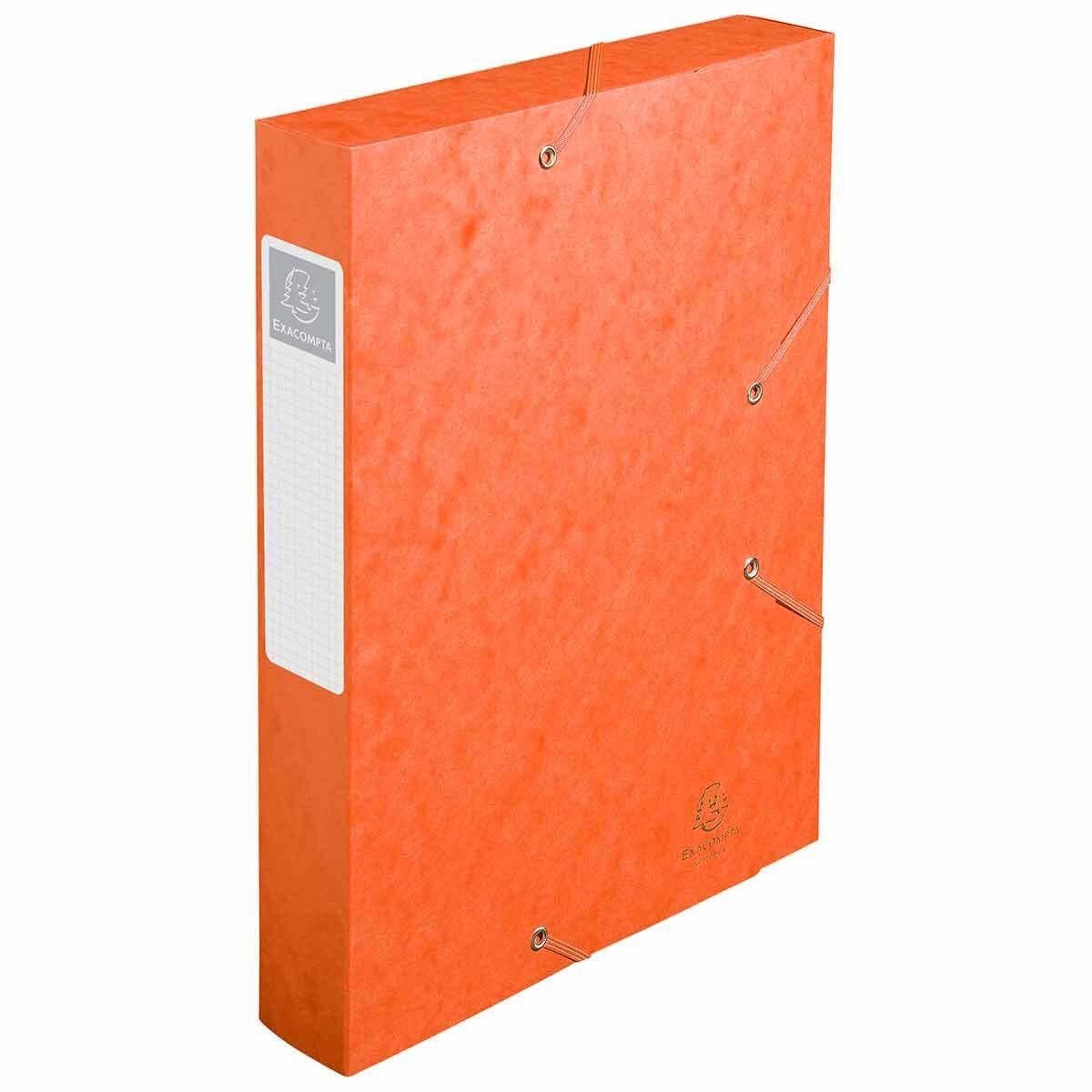 Exacompta Elasticated Box File Pressboard A4 60mm Pack of 10 Orange