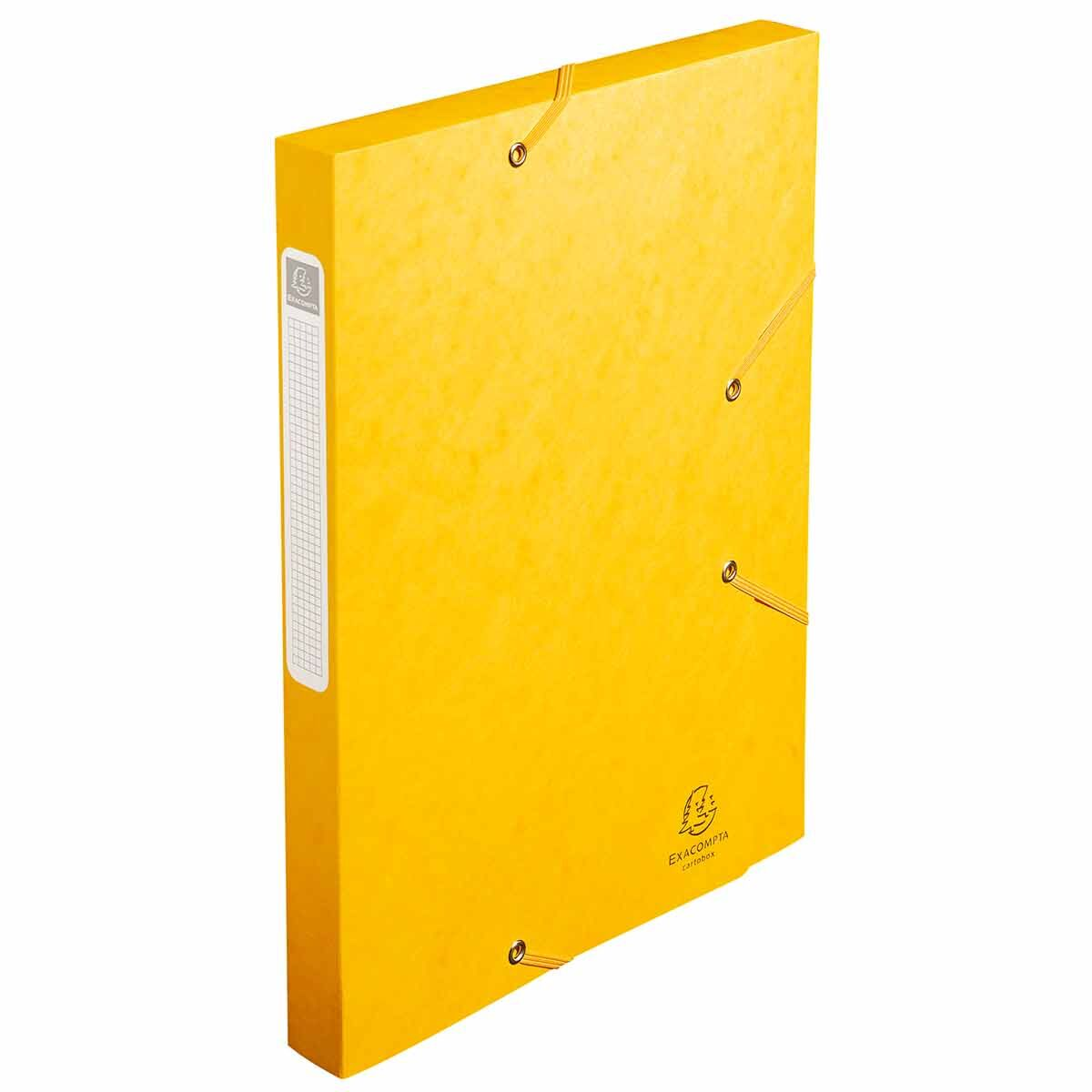 Exacompta Elasticated Box File Pressboard A4 25mm Pack of 25 Yellow