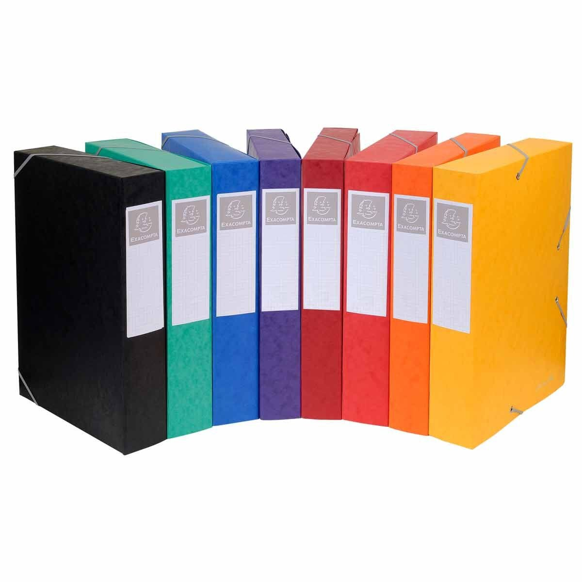 Exacompta Cartobox Box File 50mm 600g A4 Pack of 10 Assorted