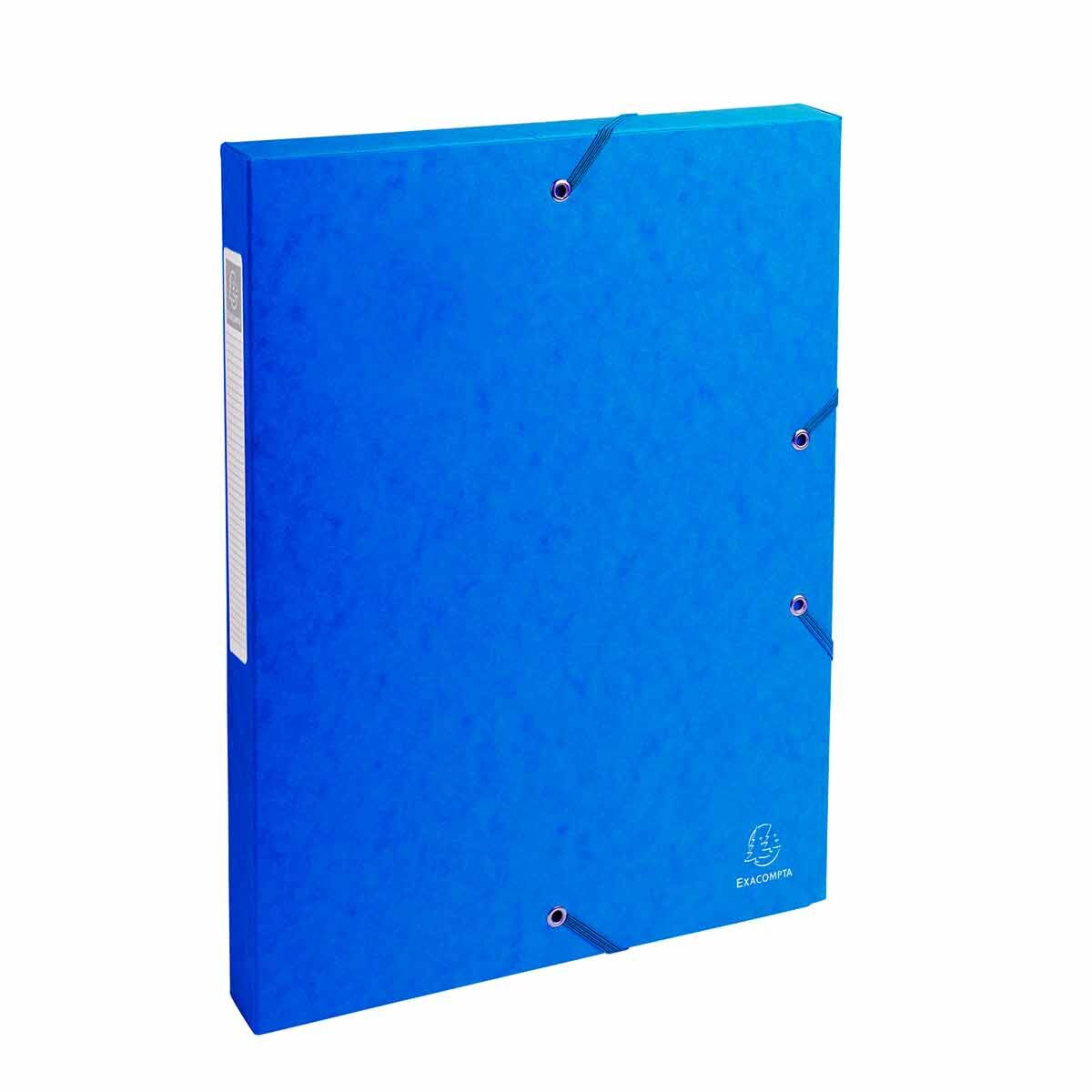 Exacompta Elasticated Box File Pressboard A4 25mm Pack of 8 Blue