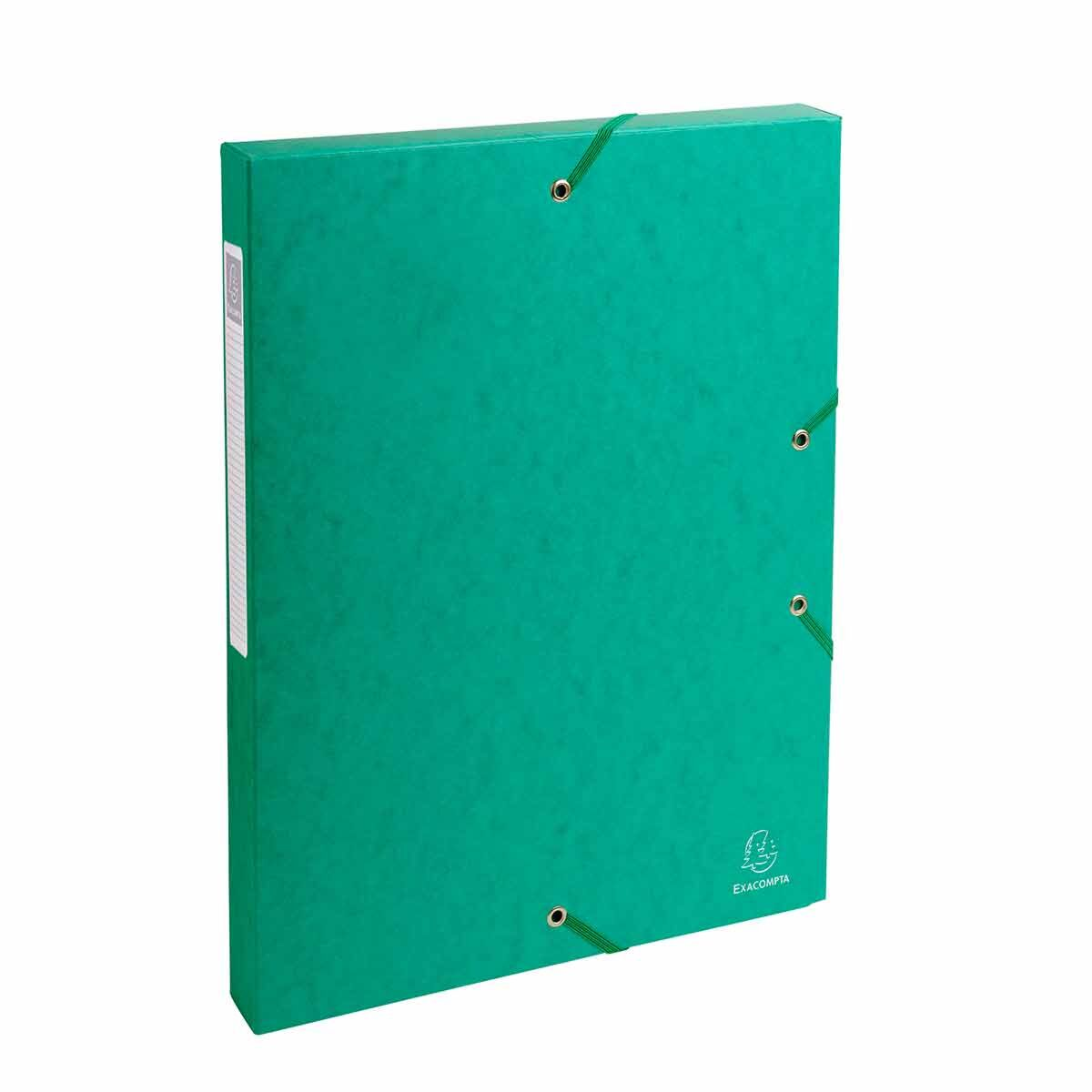 Exacompta Elasticated Box File Pressboard A4 25mm Pack of 8 Green