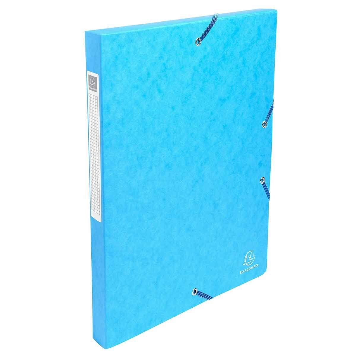 Exacompta Elasticated Box File Pressboard A4 25mm Pack of 8 Turquoise