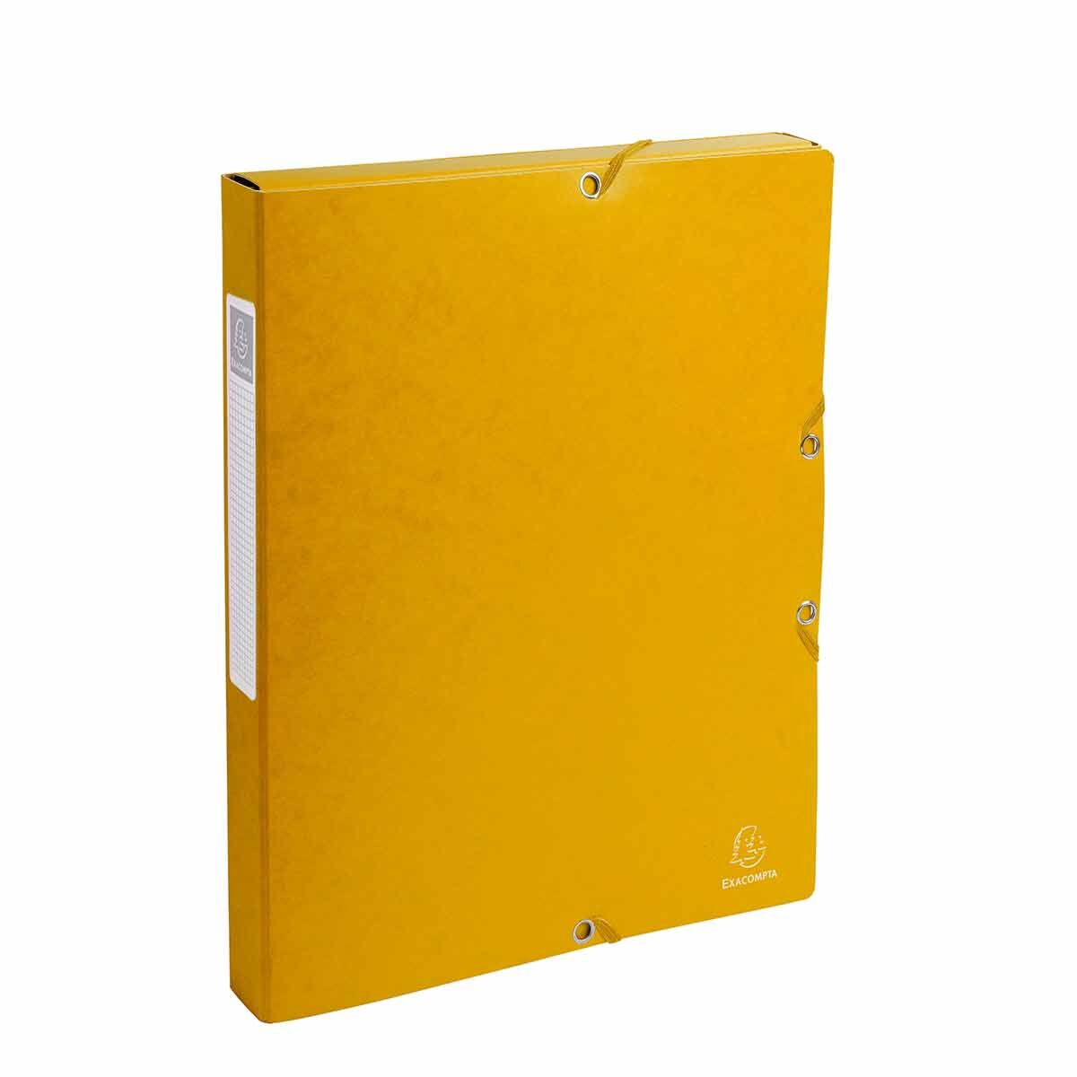 Exacompta Elasticated Box File Pressboard A4 25mm Pack of 8 Yellow