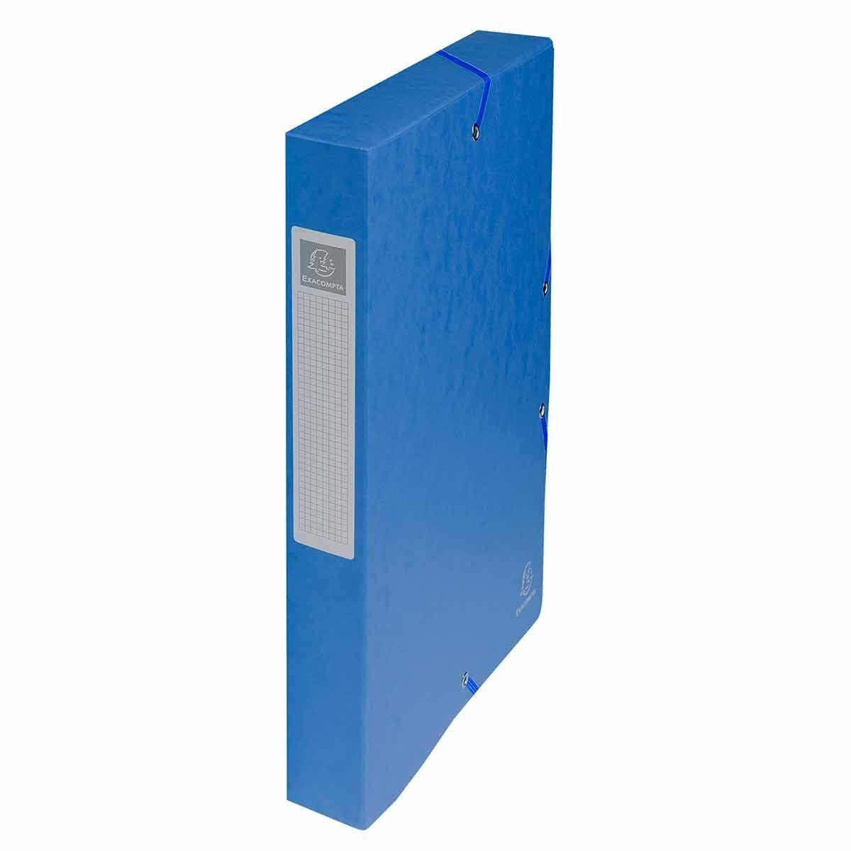 Exacompta Elasticated Box File Pressboard A4 40mm Pack of 8 Blue