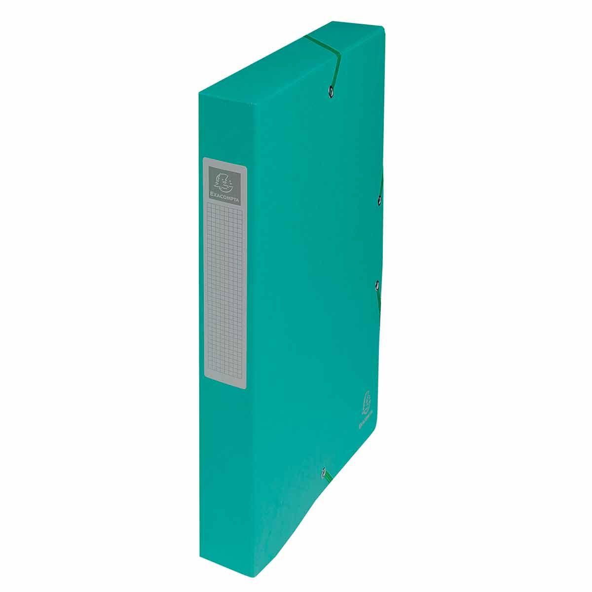 Exacompta Elasticated Box File Pressboard A4 40mm Pack of 8 Green