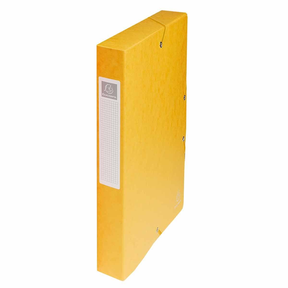 Exacompta Elasticated Box File Pressboard A4 40mm Pack of 8 Yellow