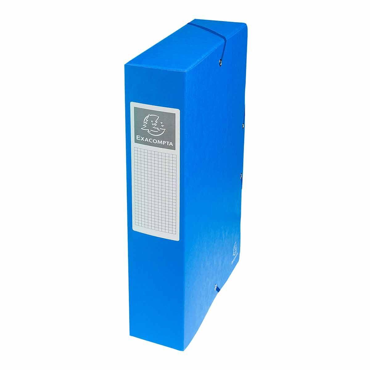 Exacompta Elasticated Box File Pressboard A4 60mm Pack of 8 Blue
