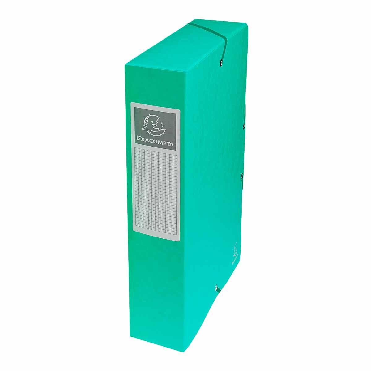 Exacompta Elasticated Box File Pressboard A4 60mm Pack of 8 Green