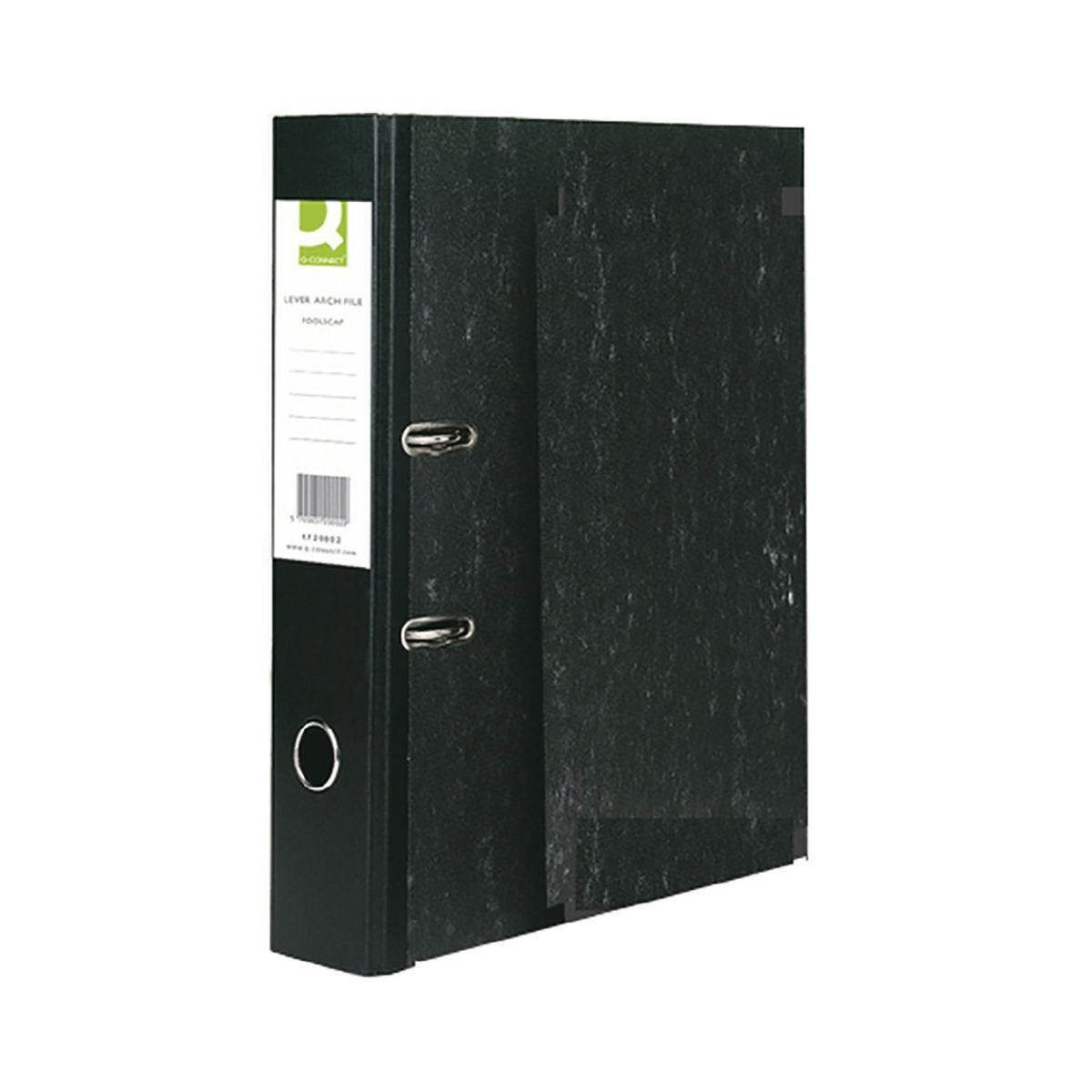 Q-Connect Black Foolscap Lever Arch File Pack of 10