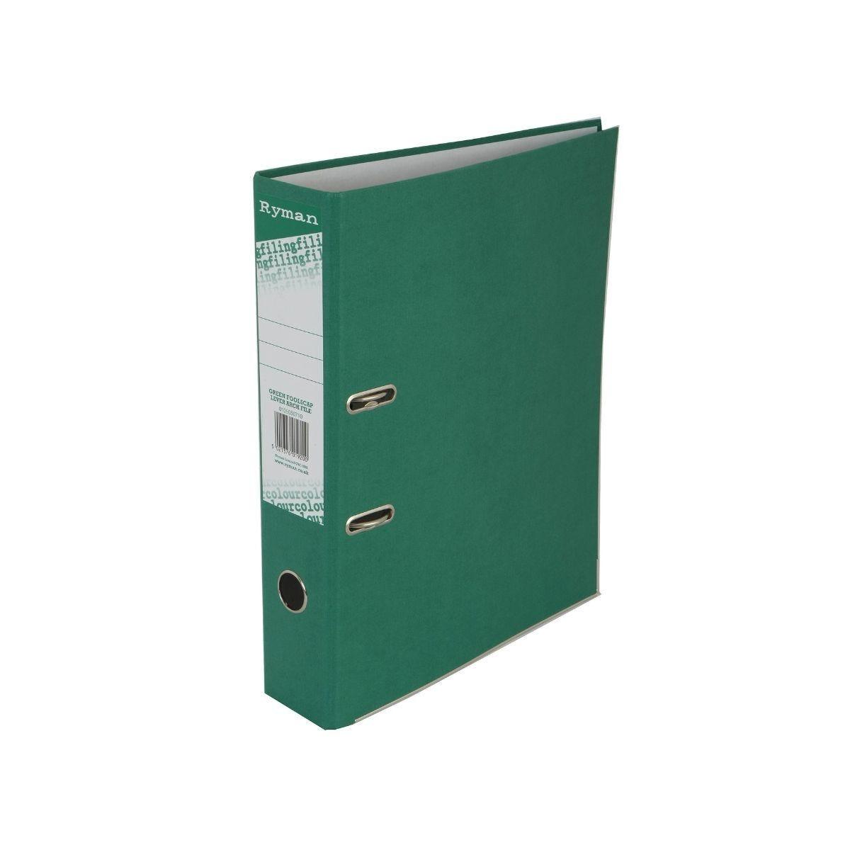 Ryman Colour Lever Arch File Foolscap Green