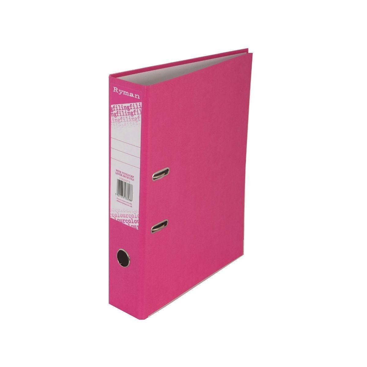 Ryman Colour Lever Arch File Foolscap Pink