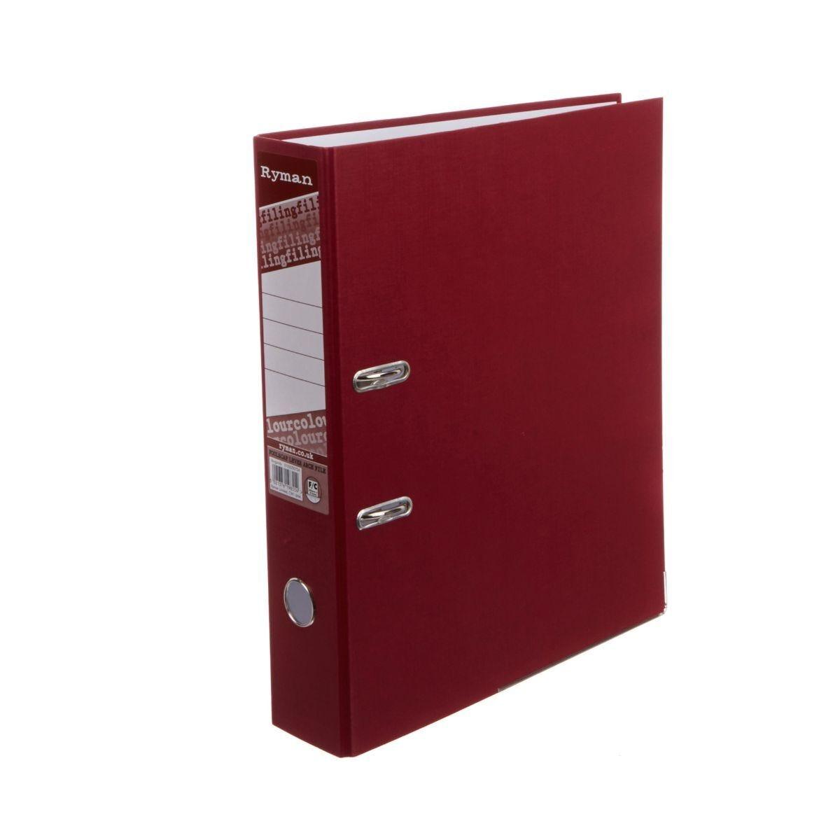 Ryman Colour Lever Arch File Foolscap Burgundy