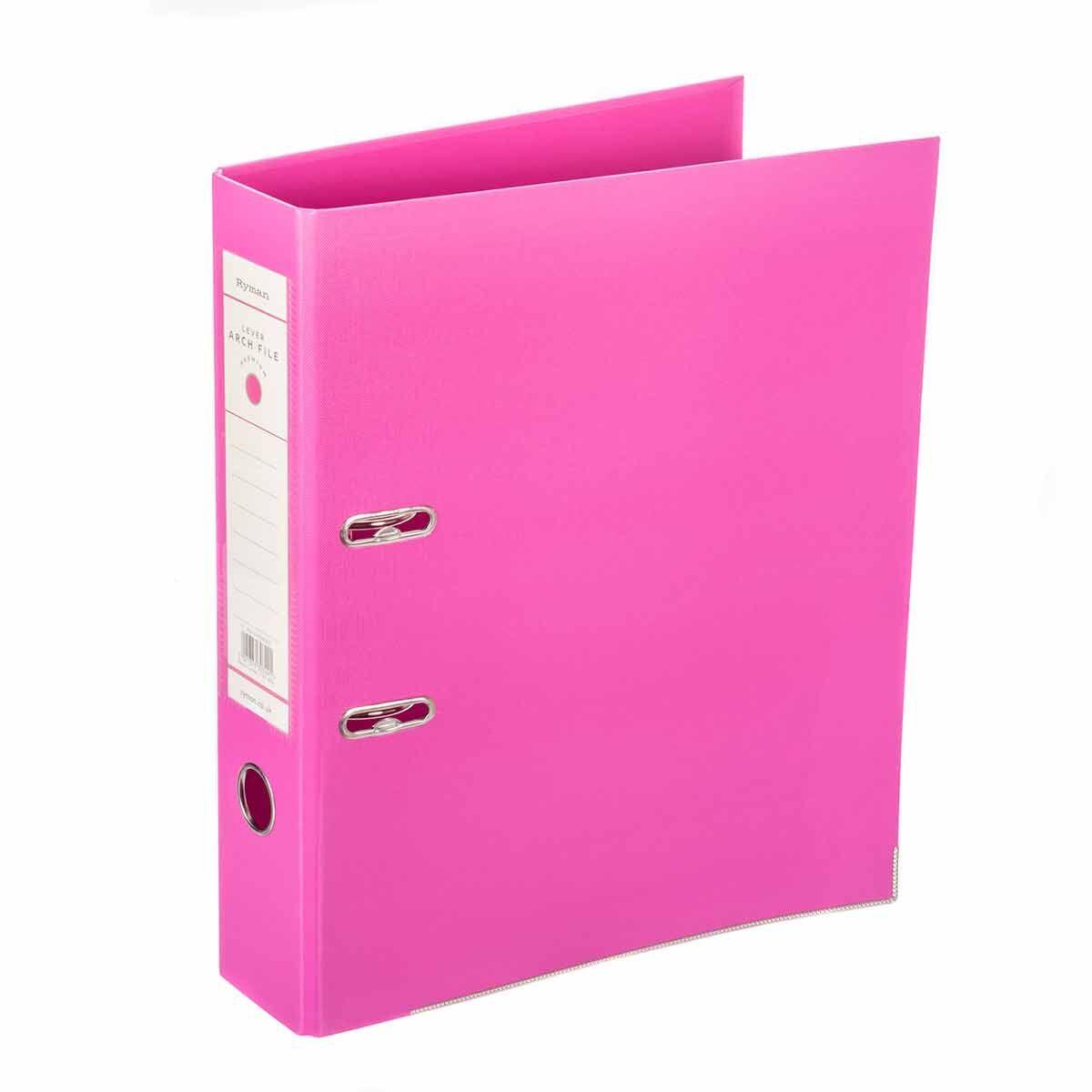 Ryman Premium Lever Arch File Foolscap Pink