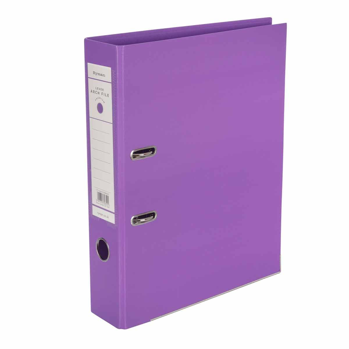 Ryman Premium Lever Arch File Foolscap Purple