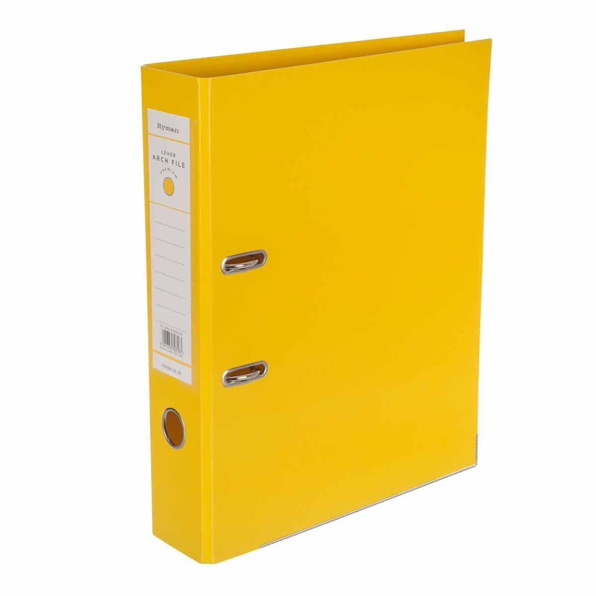 Ryman Premium Lever Arch File Foolscap Yellow