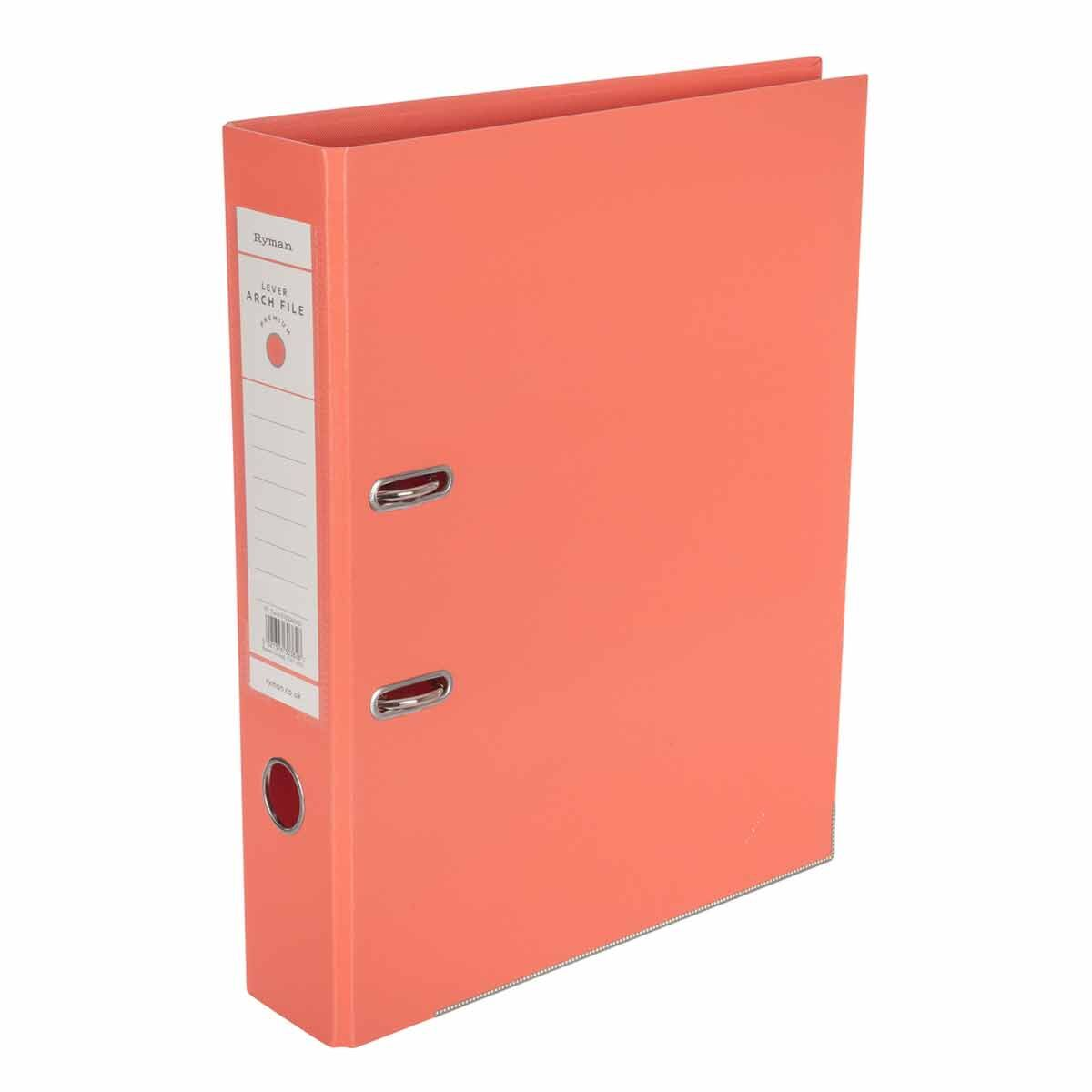 Ryman Premium Lever Arch File Foolscap Coral