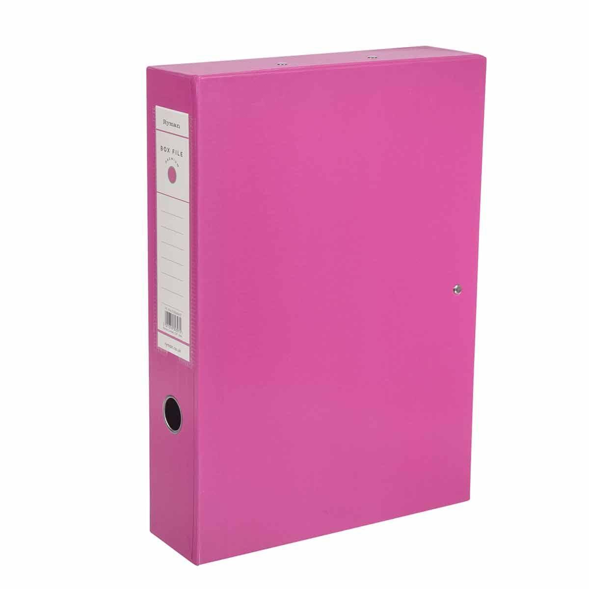 Ryman Premium Box File Foolscap Pack of 10 Pink