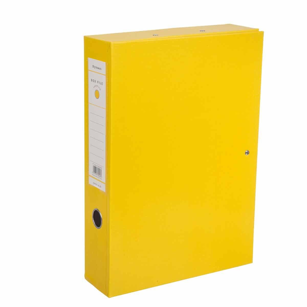 Ryman Premium Box File Foolscap Pack of 10 Yellow
