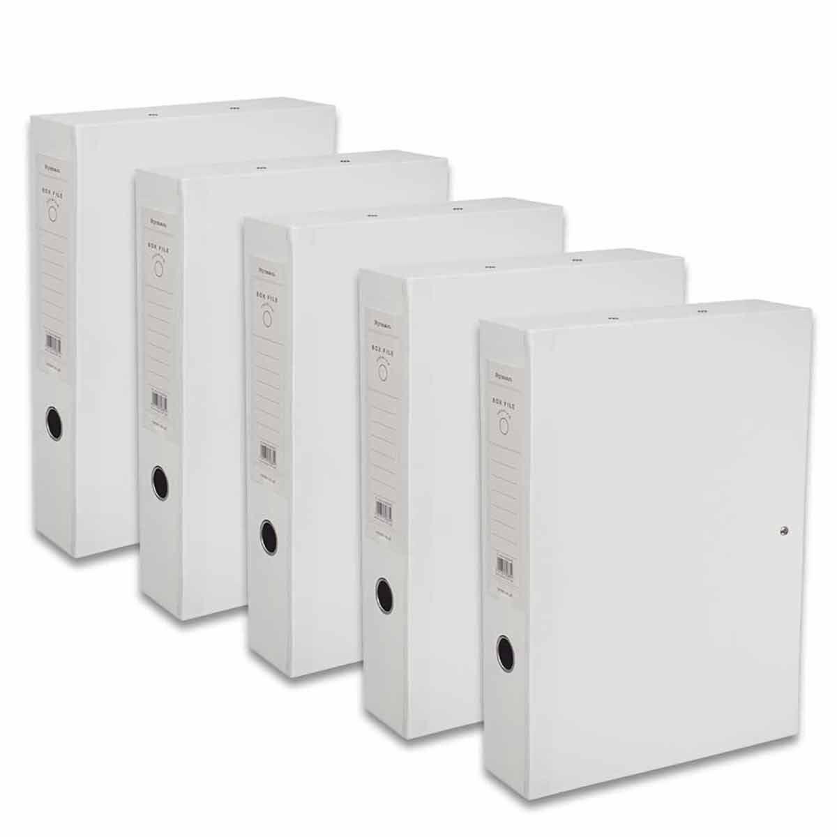 Ryman Premium Box File Foolscap Pack of 5 White