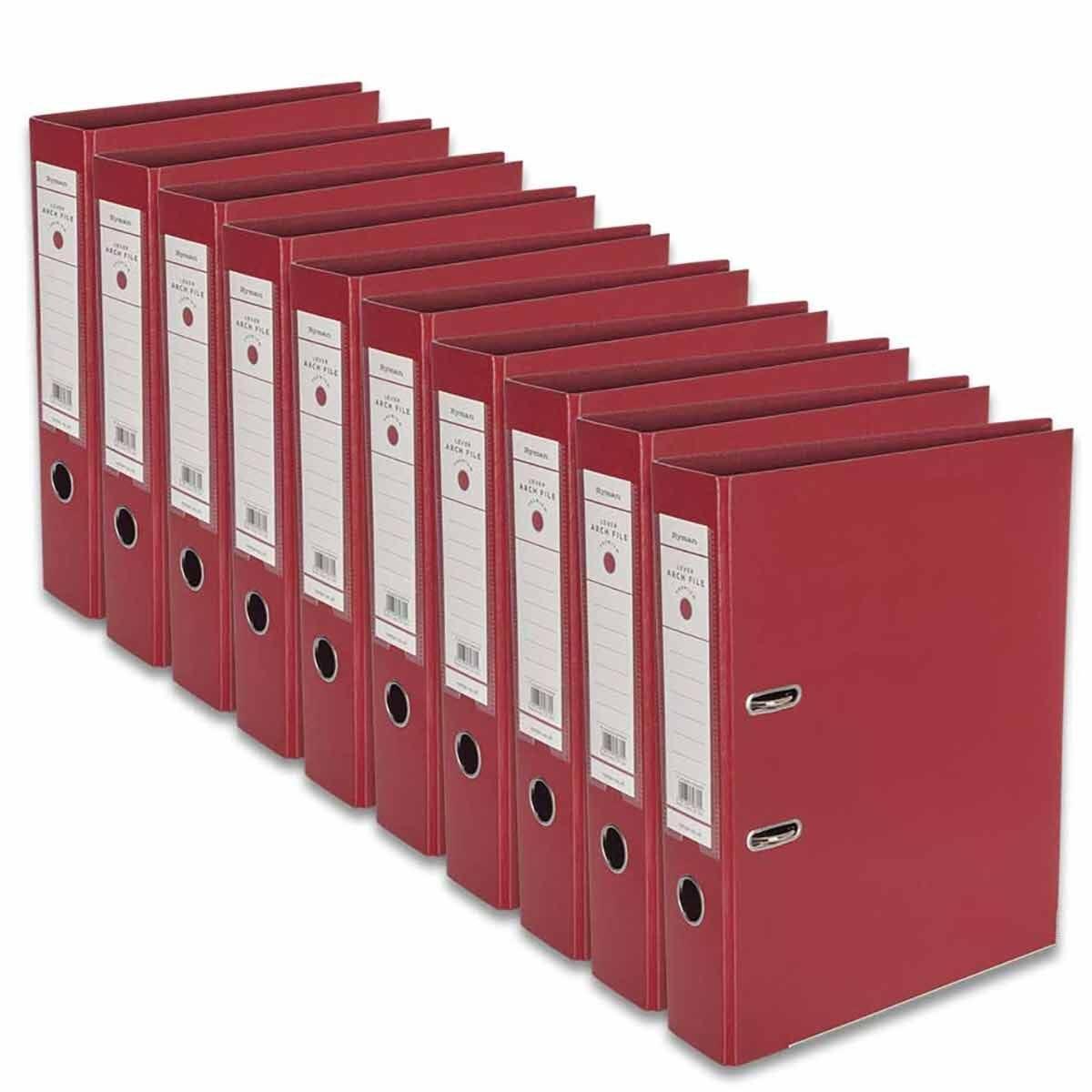 Ryman Premium Lever Arch Files Foolscap Pack of 10 Burgundy