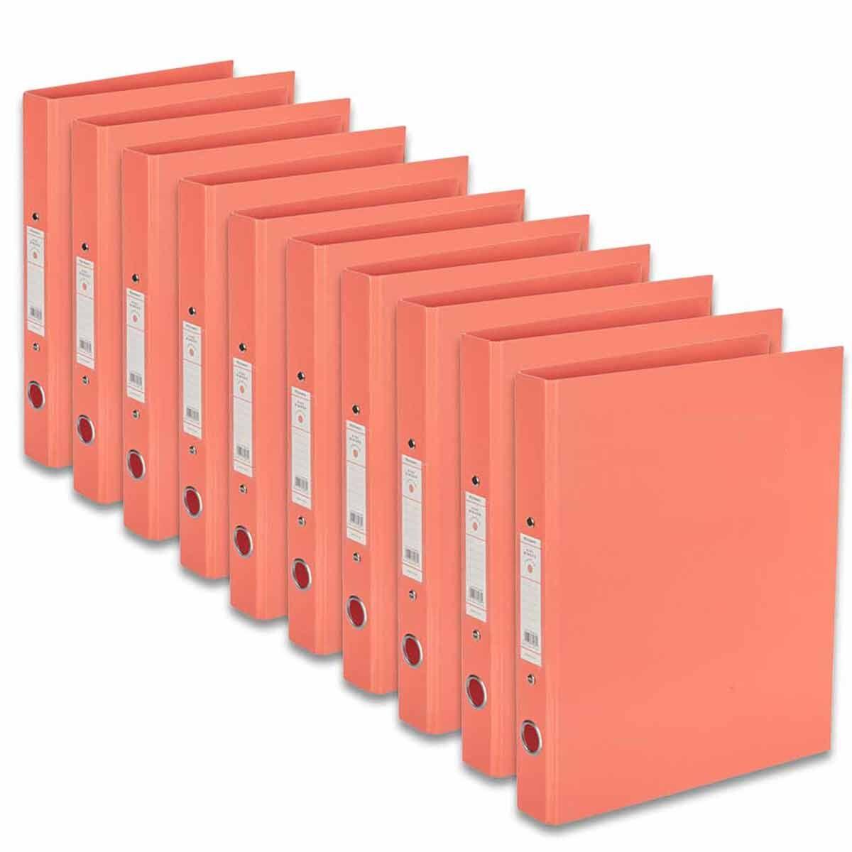 Ryman Premium Ring Binder A4 Pack of 10 Coral