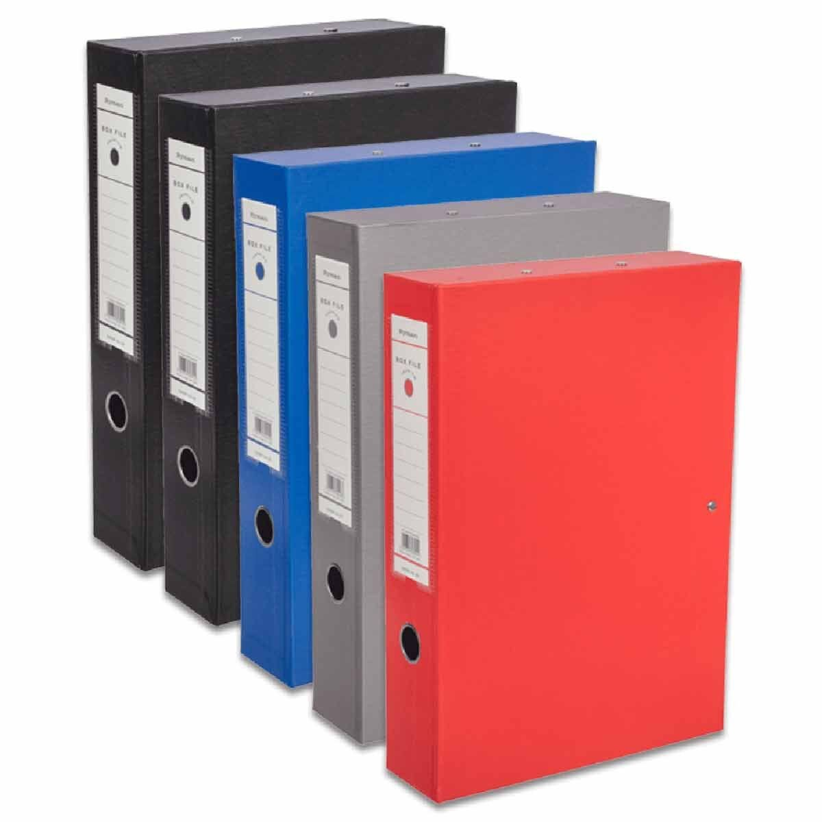 Ryman Premium Box File Foolscap Pack of 5 Assorted
