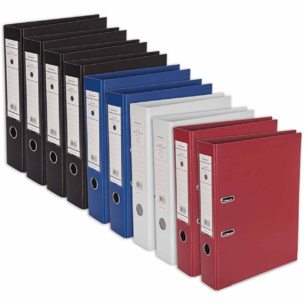 Ryman Premium Lever Arch Files Foolscap Pack of 10 Assorted