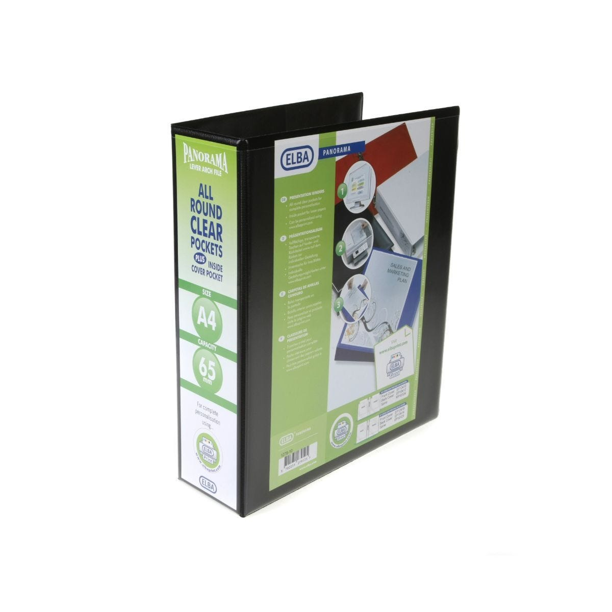 Elba Presentation Lever Arch File A4 65mm Black