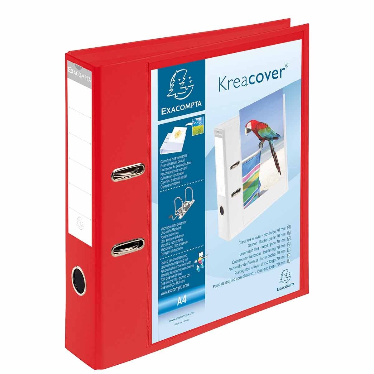 Exacompta Kreacover PremTouch Lever Arch File A4 70mm Pack of 10 Red