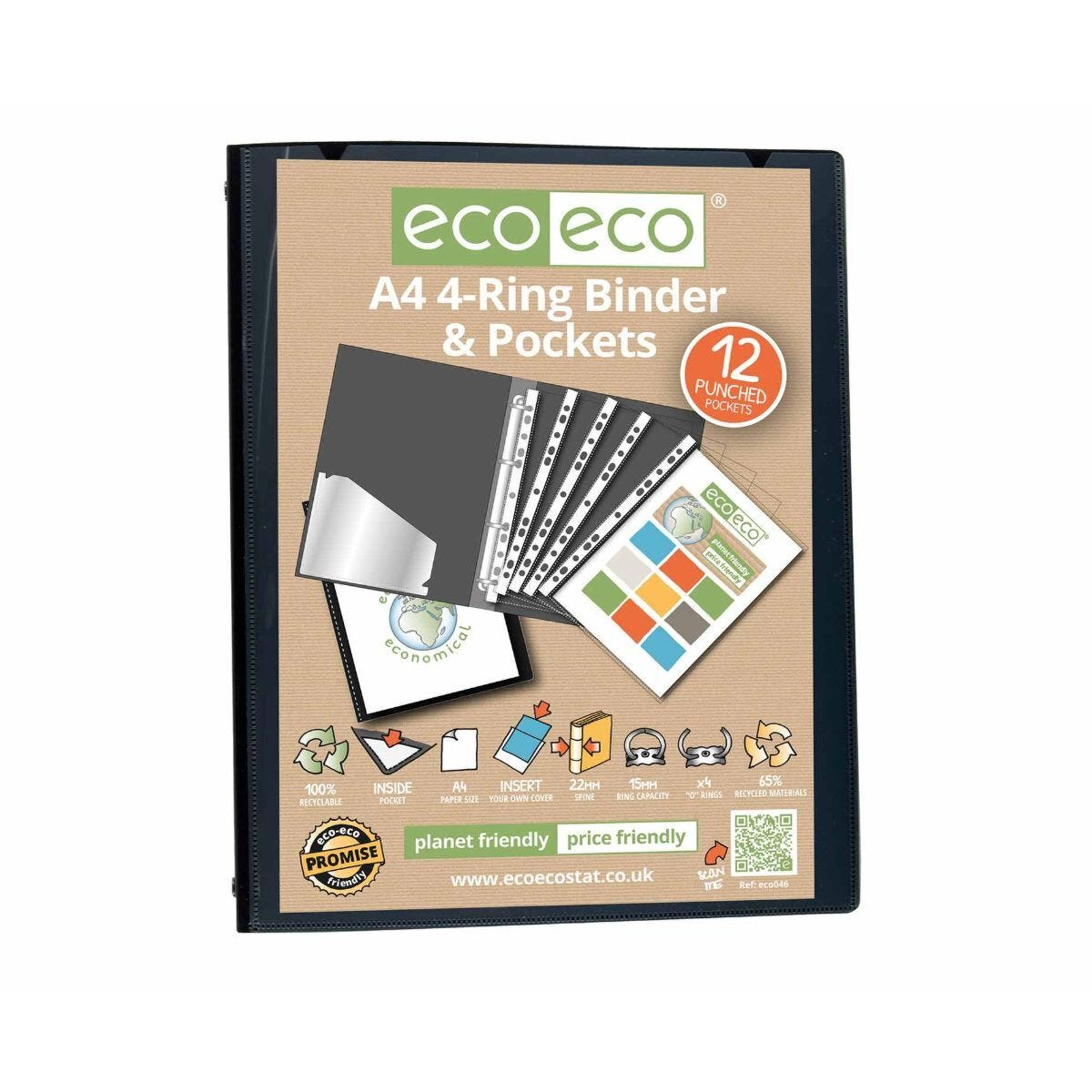 eco eco Ring Binder 12 Pocket A4 Black
