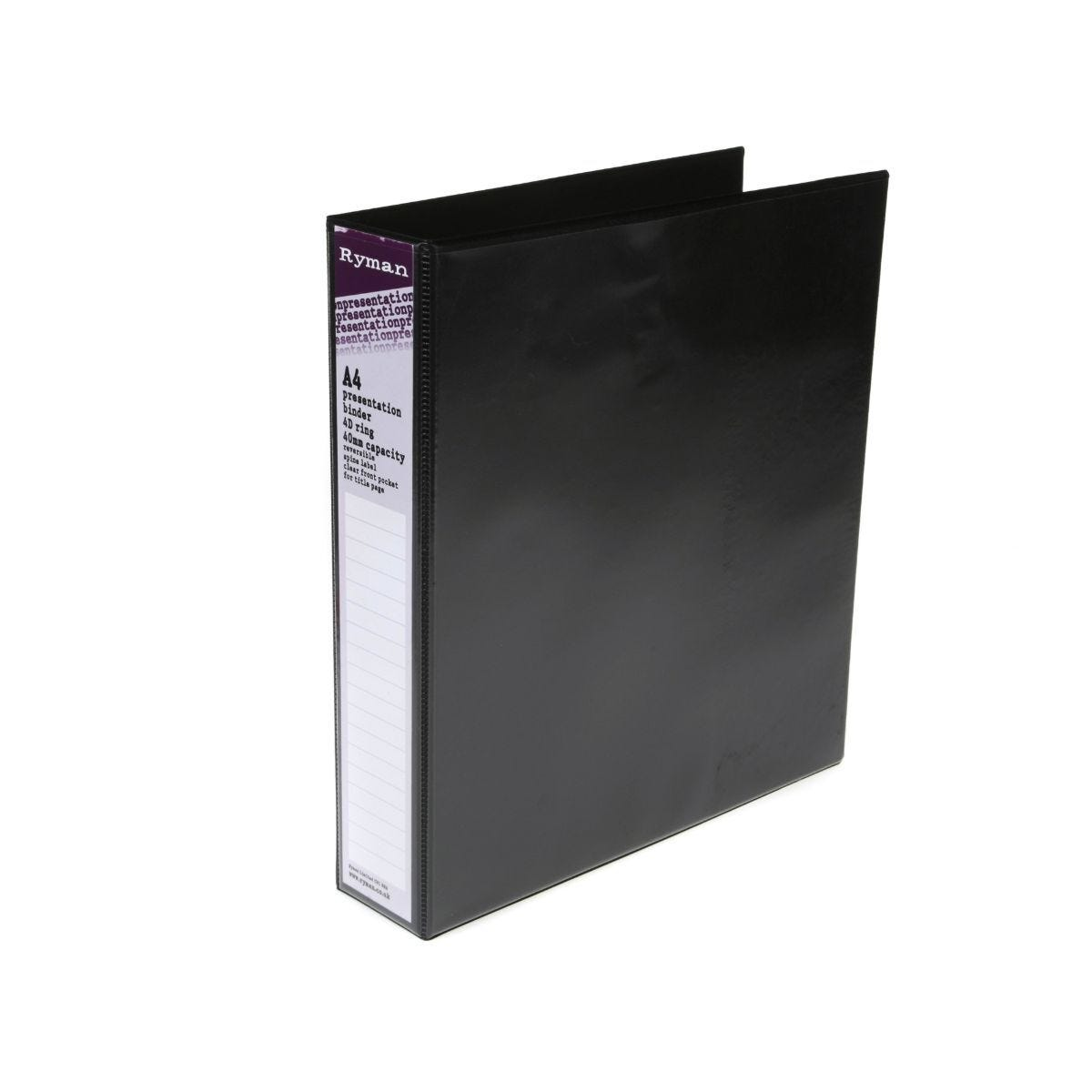 Ryman Presentation Ring Binder A4 4D Ring 40mm Black